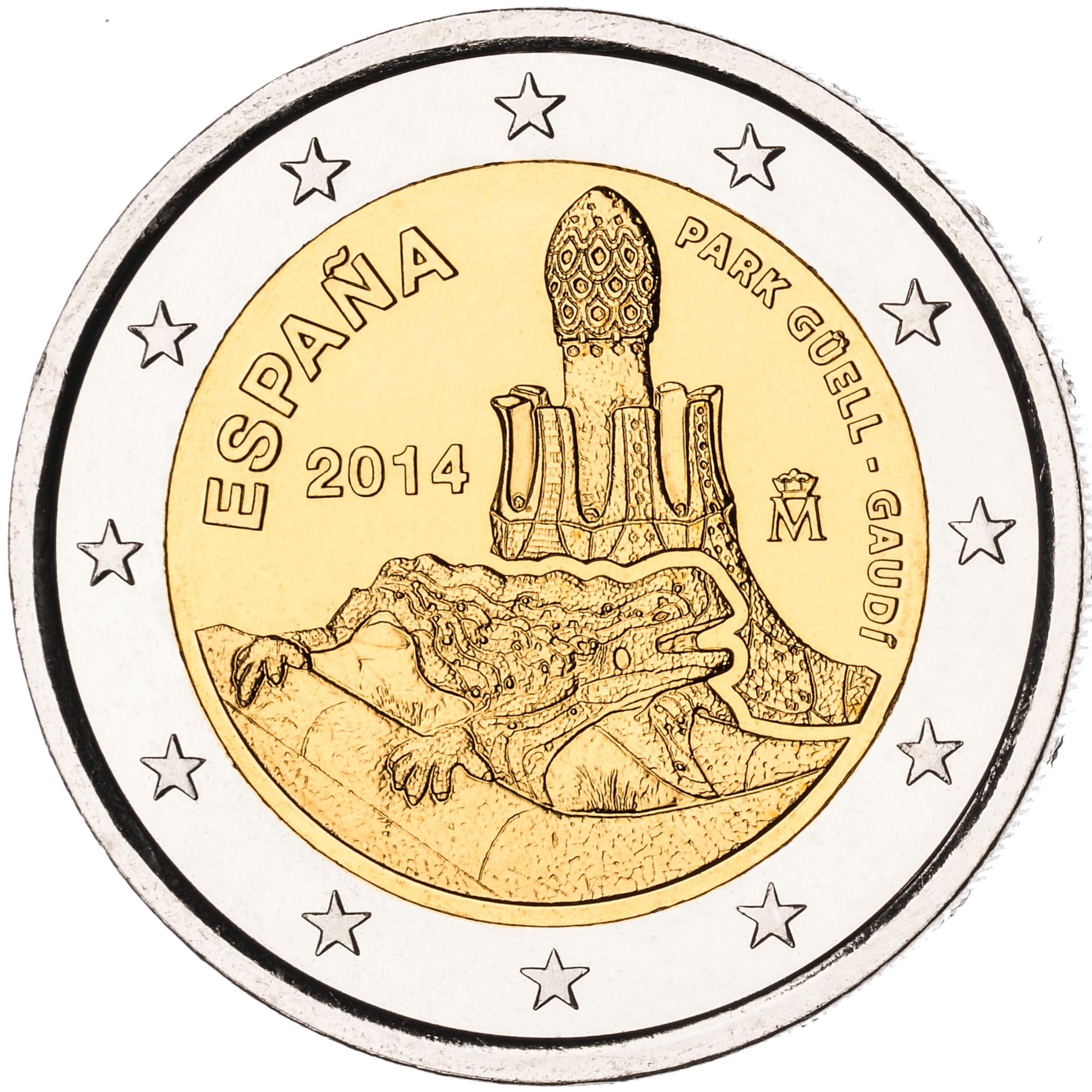 2 Ευρώ, Ισπανία, Πάρκο Γκουέλ - Α. Γκαουντί, 2014 2 ευρώ  αναμνηστικά 2