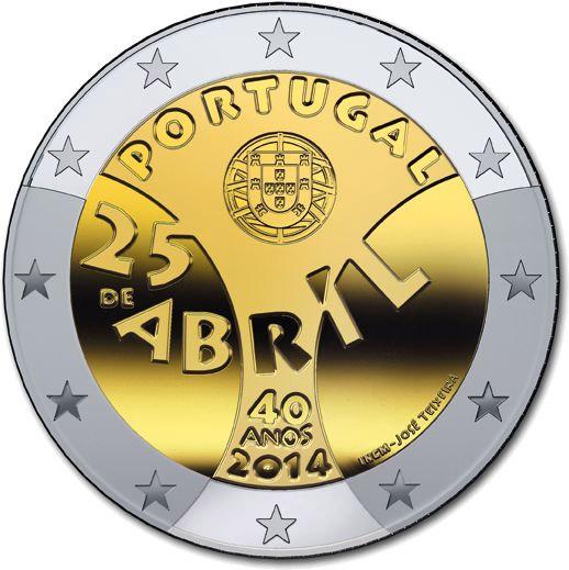 2 Ευρώ, Πορτογαλία, Επανάσταση των Γαρυφάλλων, 2014 2 ευρώ  αναμνηστικά 2