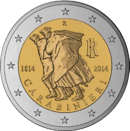 2 Ευρώ, Ιταλία, Καραμπινιέροι, 2014 2 ευρώ  αναμνηστικά 2