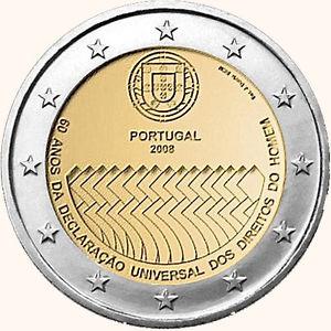 2 Ευρώ, Πορτογαλία, Νόμισμα για τα ανθρώπινα δικαιώματα, 2008 2 ευρώ