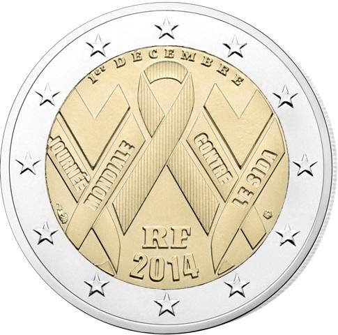 2 Ευρώ, Ημέρα κατά του AIDS, Γαλλία 2014 2 ευρώ