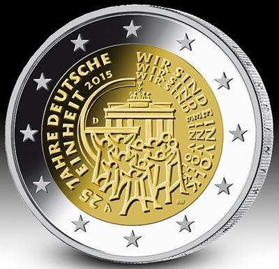 """2 Ευρώ , Γερμανία, """"25 χρόνια ενωμένη Γερμανία """", 2015 2 ευρώ"""
