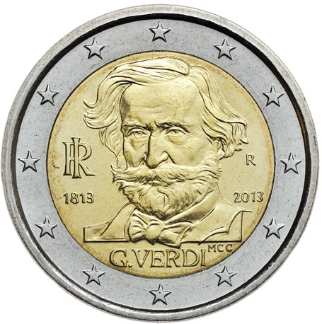 2 Ευρώ, Ιταλία, 200η Επέτειος Γέννησης του Τζουζέπε Βέρντι, 2013 2 ευρώ