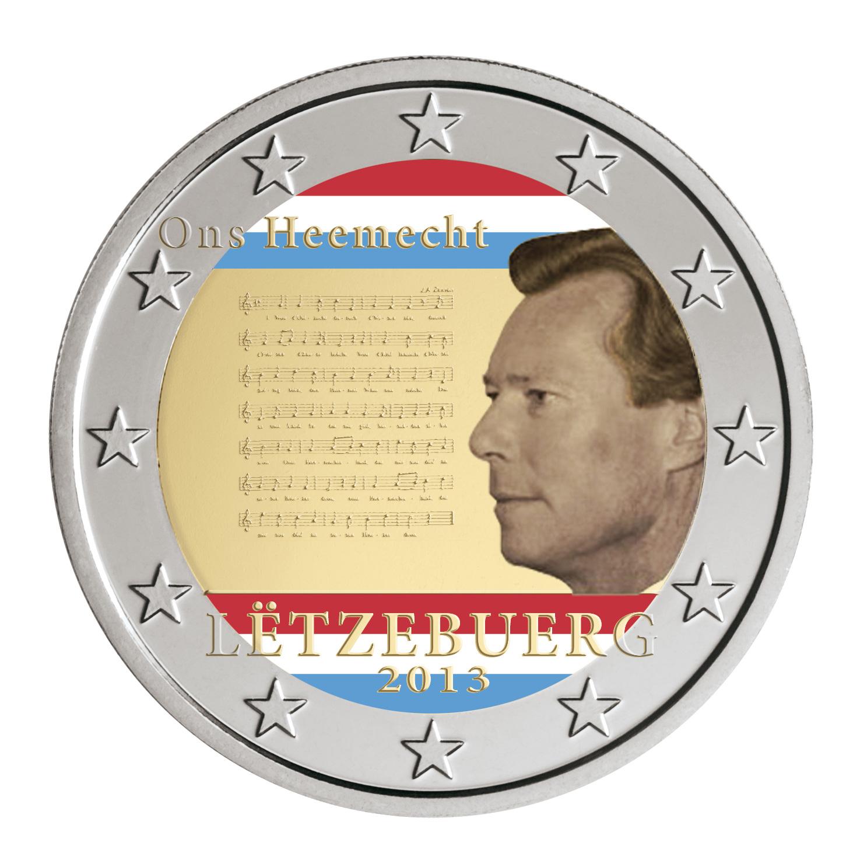 2 €, Έγχρωμο, Εθνικός Ύμνος Λουξεμβούργου, Λουξεμβούργο, 2013 2 ευρώ