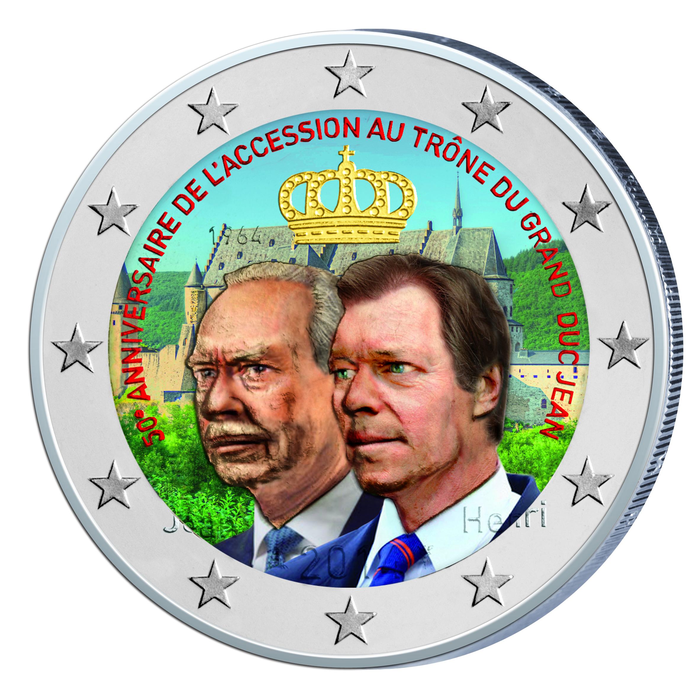 2 €, Έγχρωμο, 50 χρόνια του Μεγάλου Δούκα στο Θρόνο, Λουξεμβούργο, 2014 2 ευρώ