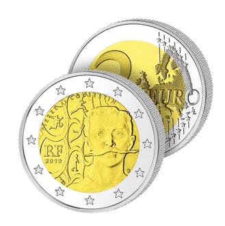 2 Ευρώ, Γαλλία, 150η, επέτειος, γέννησης, Πιερ Ντε Κουμπερτέν, 2013 2 ευρώ  αναμνηστικά 2