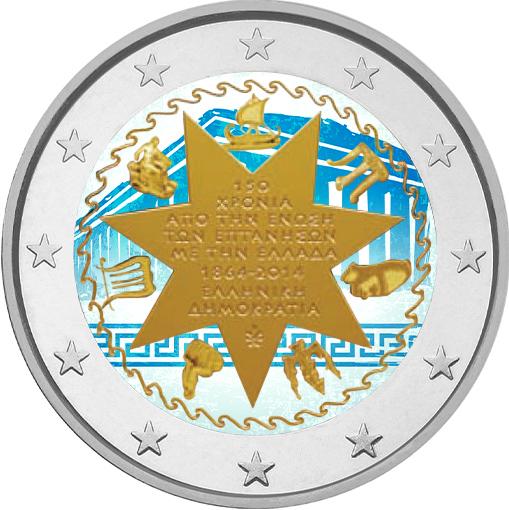 2 Ευρώ,Ελλάδα, Εγχρωμο, Ένωση των Ιονίων Νήσων, 2014 2 ευρώ