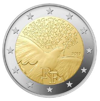 2 Ευρώ, Γαλλία, 70 έτη ειρήνης στην Ευρώπη, 2015 2 ευρώ