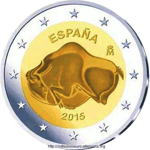 2 Ευρώ, Ισπανία, UNESCO, Παλαιολιθική Τέχνη Σπηλαίων, 2015 2 ευρώ
