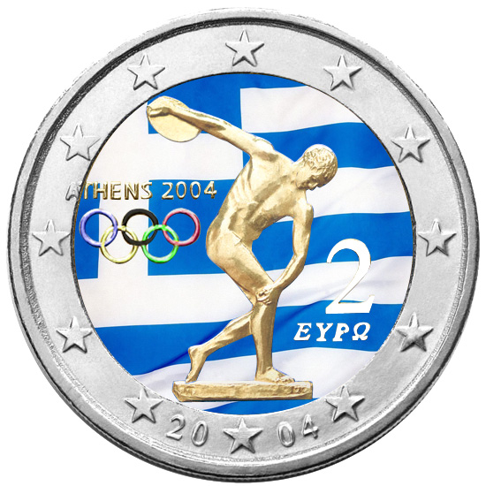 2 Ευρώ, Έγχρωμο, Ελλάδα, Ολυμπιακοί Αγώνες 2004- Αποκλειστικό! 2 ευρώ