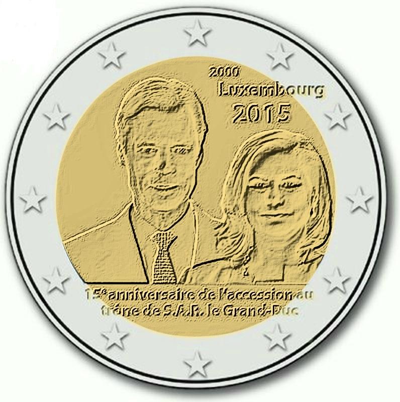 2 Ευρώ, Λουξεμβούργο, Ενθρόνιση Μεγάλου Δουκα , 2015 2 ευρώ