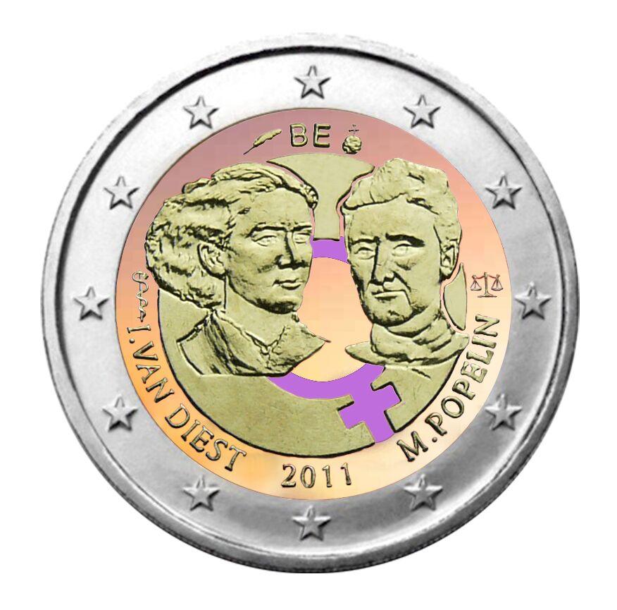 2 €, Έγχρωμο, 100ή επέτειος της Παγκόσμιας Ημέρας της Γυναίκας, Βέλγιο, 2011 2 ευρώ