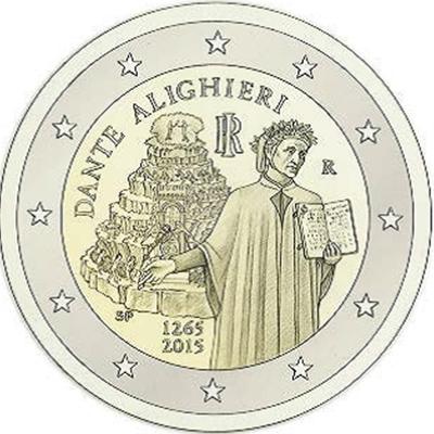 2 Ευρώ, Ιταλία, 750 ετη από τη γέννηση τουΔάντη, 2015 2 ευρώ