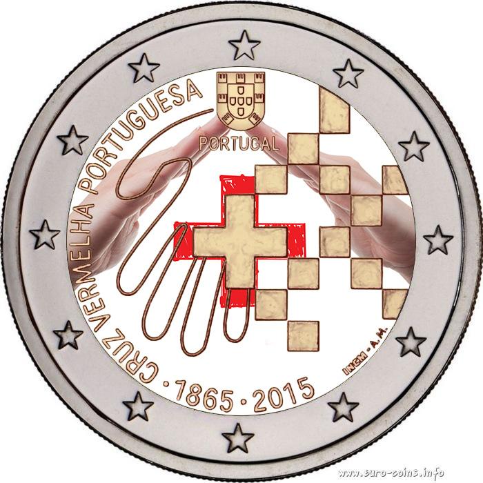 2 €, Έγχρωμο, 150 έτη του Ερυθρού Σταυρού, Πορτογαλία, 2015 2 ευρώ  έγχρωμα 2