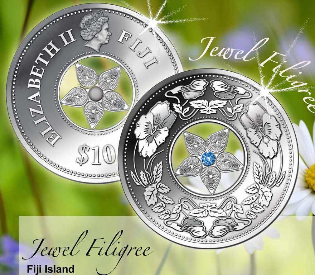 Νόμισμα, Ασήμι 925, Φιλιγκραν και Swarovskι, Νησια Φιτζι, 2015 διεθνείς