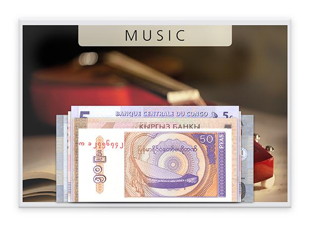 Μουσική - 5 Χαρτονομίσματα από όλον τον κόσμο!! συλλογές νομισμάτων  χαρτονομίσματα