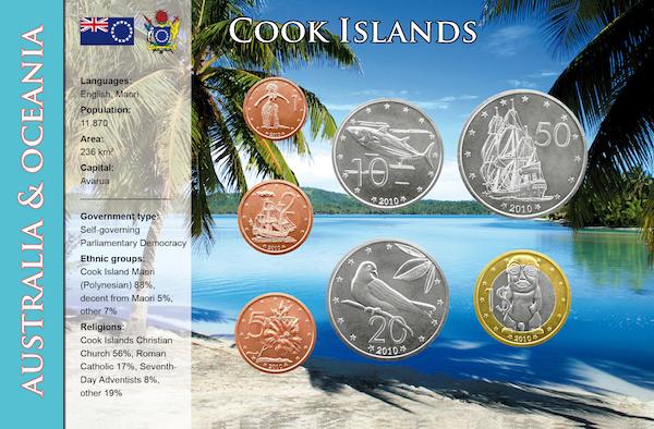 Σετ 7 κερμάτων σε Blister, 1 λεπτo - 1$, Νησιά Κόκκος, 2010 διεθνείς