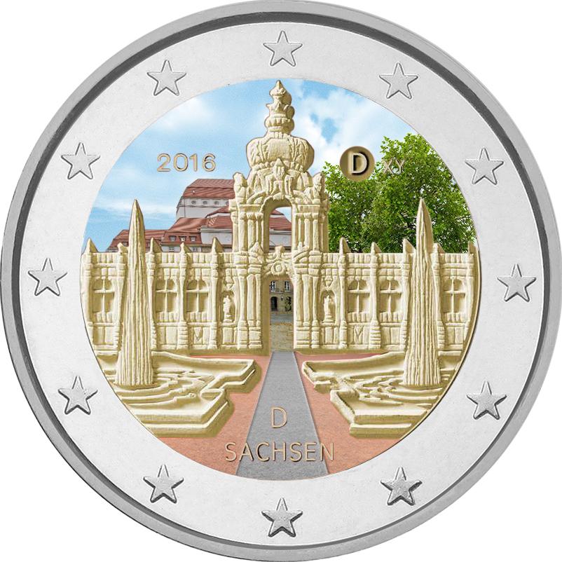 2 Ευρώ, Έγχρωμο, Παλάτι Ζβίνγκερ της Δρέσδης, Γερμανία, 2016 2 ευρώ