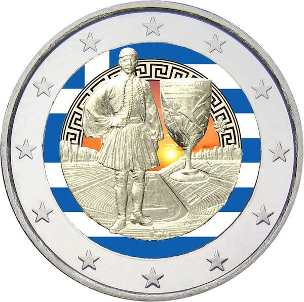 2 Ευρώ, Εγχρωμο, 75 χρόνια από τον Θάνατο του Σπύρου Λουη, Ελλάδα 2015 2 ευρώ