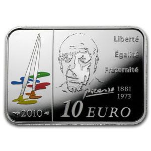 10€, Πάμπλο Πικάσο, Ασήμι 900 Proof, Γαλλία 2010 θεματικά 2 5 5 10  20  νομίσματα