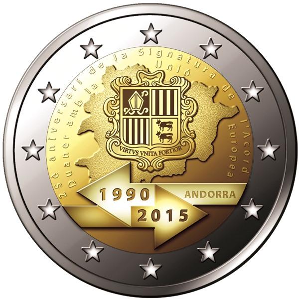 2€, 25 Χρόνια Τελωνειακής Ένωσης με την Ε.Ε., Ανδόρρα 2015 2 ευρώ  αναμνηστικά 2