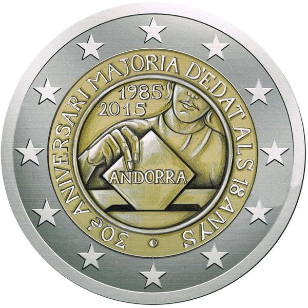2€, 30 έτη πολιτικών δικαιωμάτων από τα 18 έτη, Ανδόρρα 2015 2 ευρώ  αναμνηστικά 2