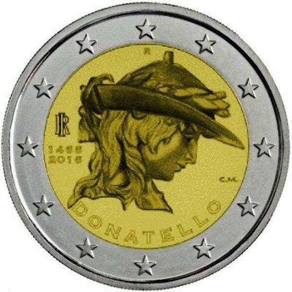 2€, 550 έτη από το θάνατο του γλύπτη Ντονατέλλο, Ιταλία 2016 2 ευρώ
