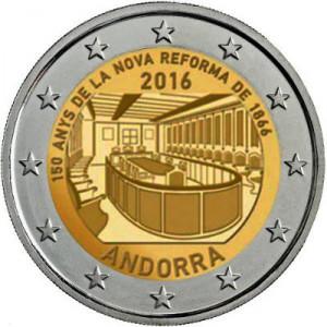 2€, Μεταρύθμιση του 1866,Ανδόρρα 2016 2 ευρώ  αναμνηστικά 2