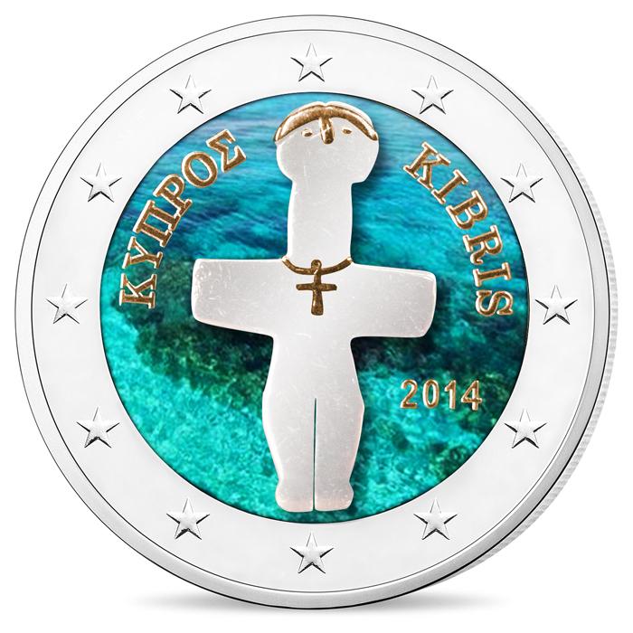 Αποκλειστικό- 2 Ευρώ, Έγχρωμο, Σταυρόσχημο Ειδώλιο, Κύπρος 2014 2 ευρώ  έγχρωμα 2