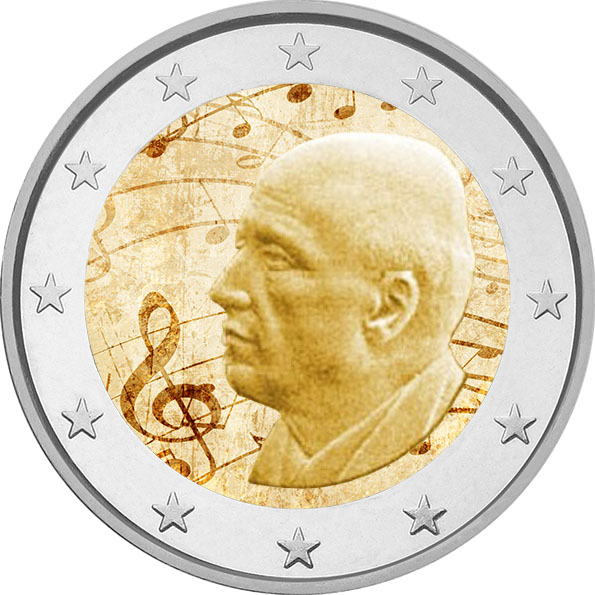2€, Έγχρωμο, 120 Χρόνια από την Γέννηση του Δ. Μητρόπουλου, Ελλάδα, 2016 2 ευρώ