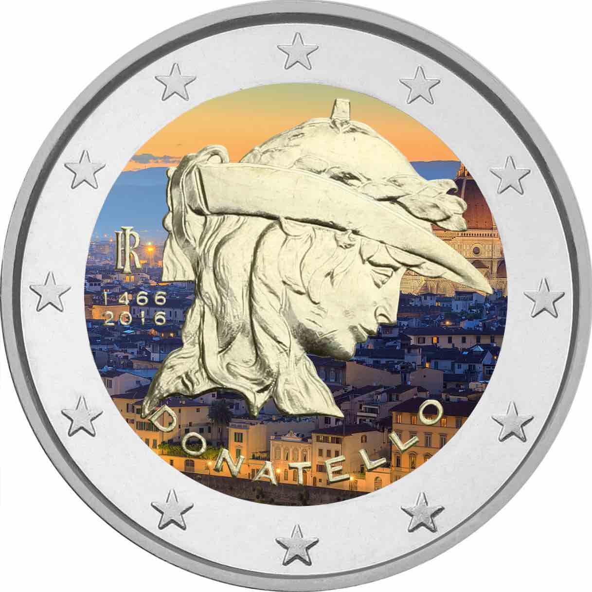 2€, Εγχρωμο, Ντονατέλλο, Ιταλία, 2016 2 ευρώ