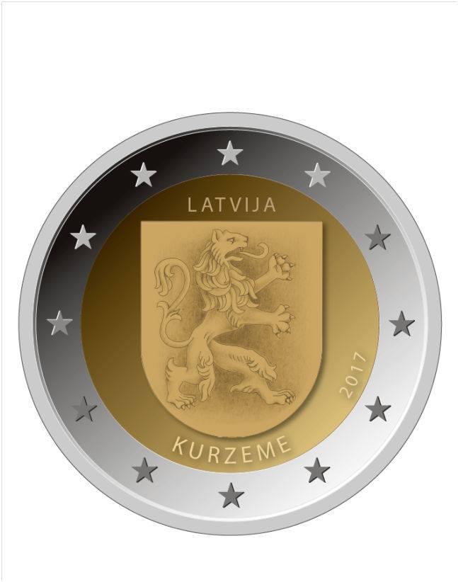 2 Ευρώ, Λεττονία,Kurzeme, 2017 2 ευρώ  αναμνηστικά 2