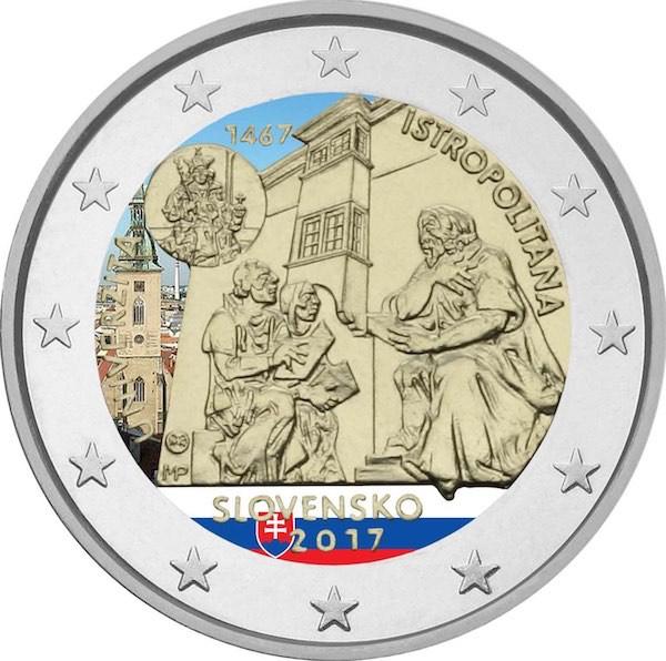 2 Ευρώ, Σλοβακία, Έγχρωμο, 550η επέτειος της ίδρυσης της Academia Istropolitana, 2 ευρώ