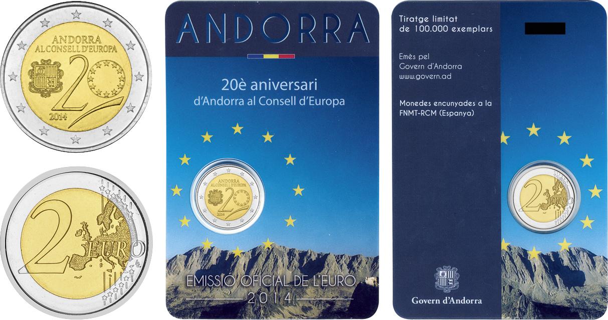 2 Ευρώ, Ανδόρρα, 20 Έτη του Συμβουλίου της Ευρώπης, 2014 2 ευρώ