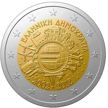 2 €, 10η επέτειος Ευρώ, Ελλάδα, 2012 2 ευρώ  αναμνηστικά 2