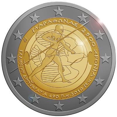 2 €, 2.500 χρόνια από τη Μάχη του Μαραθώνα, Ελλάδα, 2010 2 ευρώ