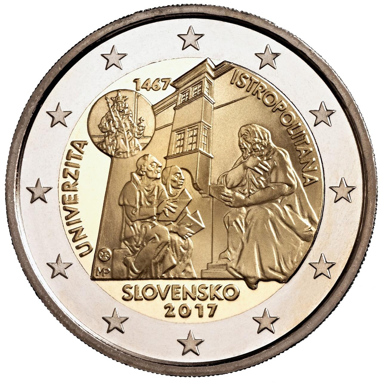 2 Ευρώ, Σλοβακία, 550η επέτειος της ίδρυσης της Academia Istropolitana, 2017 2 ευρώ  αναμνηστικά 2