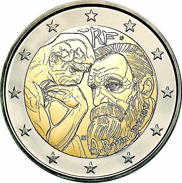 2€, 100ή επέτειος του θανάτου του Άυγουστου Ροντέν, Γαλλία, 2017 2 ευρώ  αναμνηστικά 2