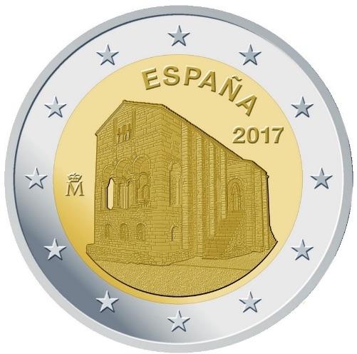 2 Ευρώ, Ισπανία, Εκκλησίες του Βασιλείου της Αστούριας, 2017 2 ευρώ  αναμνηστικά 2
