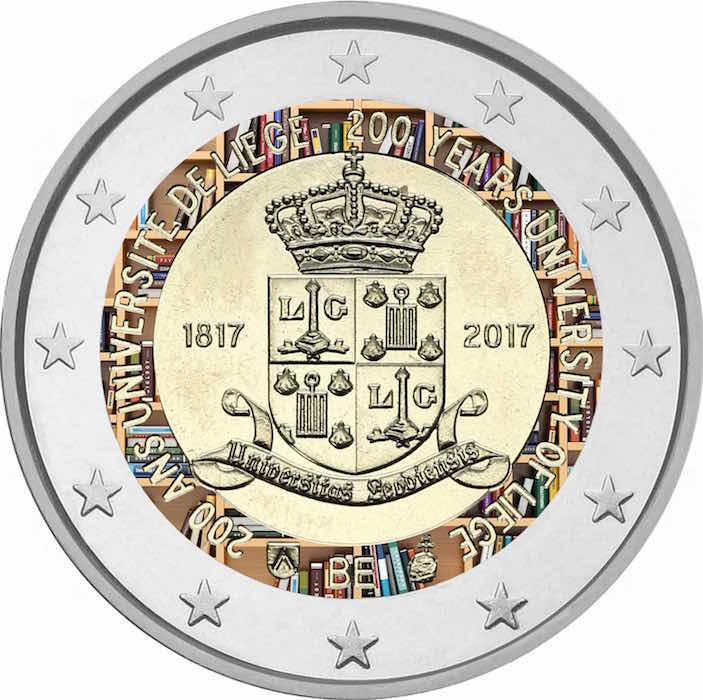 2 Ευρώ, Έγχρωμο, Βέλγιο, 200 Χρόνια του Πανεπιστημίου της Λιέγης, 2017 2 ευρώ