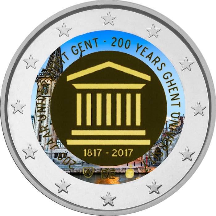 2 Ευρώ, Έγχρωμο, 200 Χρόνια από το Πανεπιστήμιο της Γάνδης, Βέλγιο, 2017 2 ευρώ