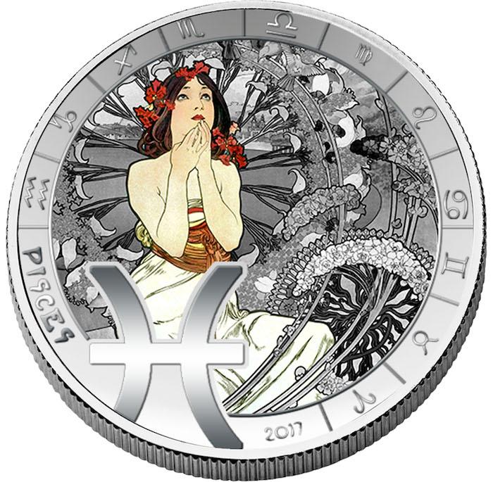 Μπενίν, Συλλογή Νομισμάτων, 12 Ζώδια, Alfons Mucha, Επάργυρο, 2017 2017 numiscom