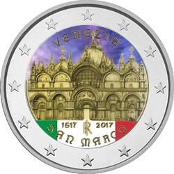 2€, Έγχρωμο, 400η επέτειος της ολοκλήρωσης της Βασιλικής του Αγίου Μάρκου στη Βε 2 ευρώ