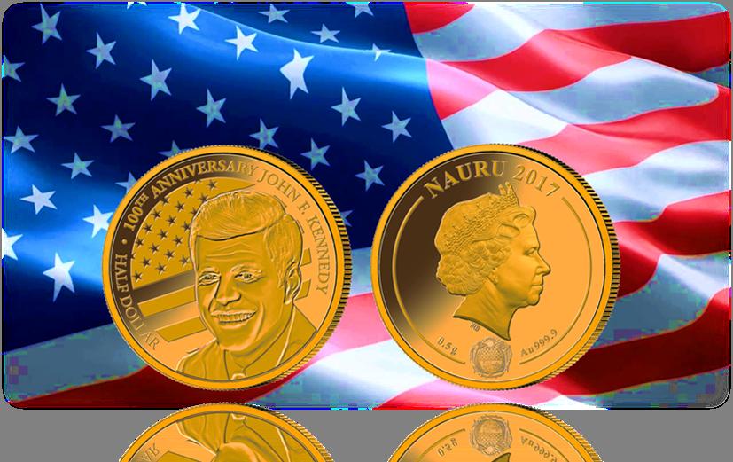 """Νόμισμα """"Τζον Κενεντι 1917-2017"""", Χρυσός 24Κ, Ναουρού, 2017 θεματικά αμερική νομίσματα"""