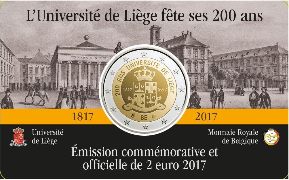 2 Ευρώ, Βέλγιο, 200 Χρόνια του Πανεπιστημίου της Λιέγης,2017 2 ευρώ  αναμνηστικά 2