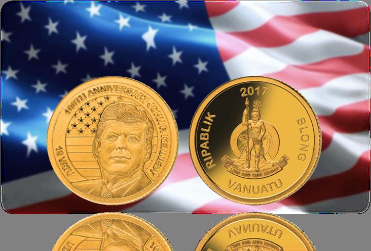 """Νόμισμα,100 χρόνια """"JFK"""", JoHn F Kennedy, Χρυσός, 14Κ, Βανουάτου, 2017 θεματικά ανα ηπειρο αμερική νομίσματα"""
