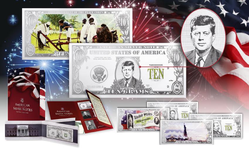"""TZON KENENTΙ, Ασημένιο Χαρτονόμισμα,100 χρόνια """"JFK"""",Ασήμι 999,2017 2017 mdm"""