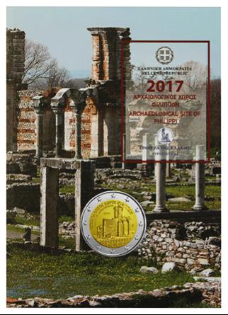 €2, Coin card, Αρχαιολογικός χώρος των Φιλίππων, Ελλάδα, 2017 2 ευρώ  αναμνηστικά 2