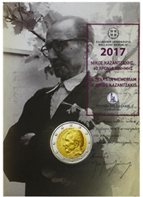 €2, Coin card, 60η επέτειος από το θάνατο του Νίκου Καζαντζάκη, Ελλάδα, 2017 2 ευρώ  αναμνηστικά 2