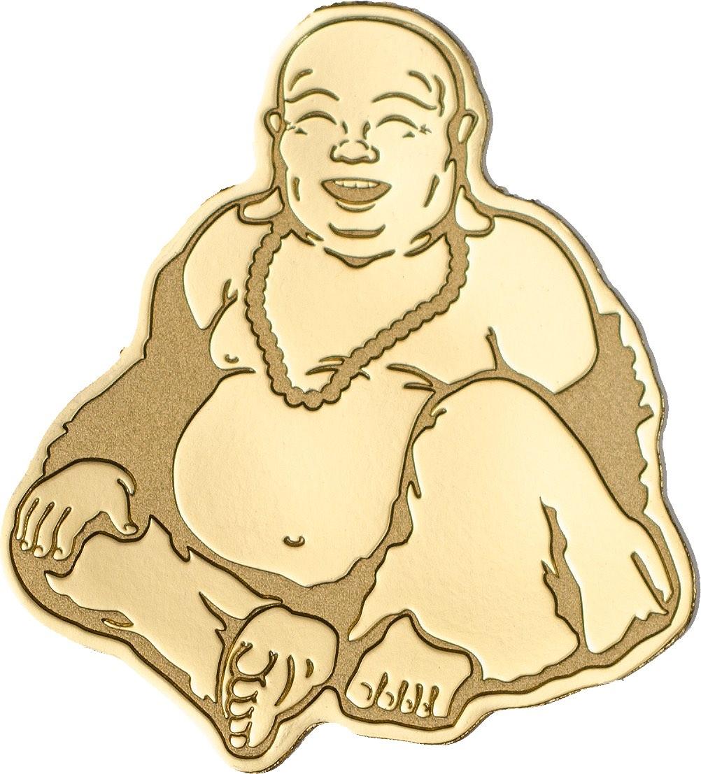 Ο γελαστός Βούδας σε χρυσό 24Κ!Παλαου, 1 Δολάριο, Χρυσός 24Κ 0.5 γρ, 2017 ασήμι χρυσός